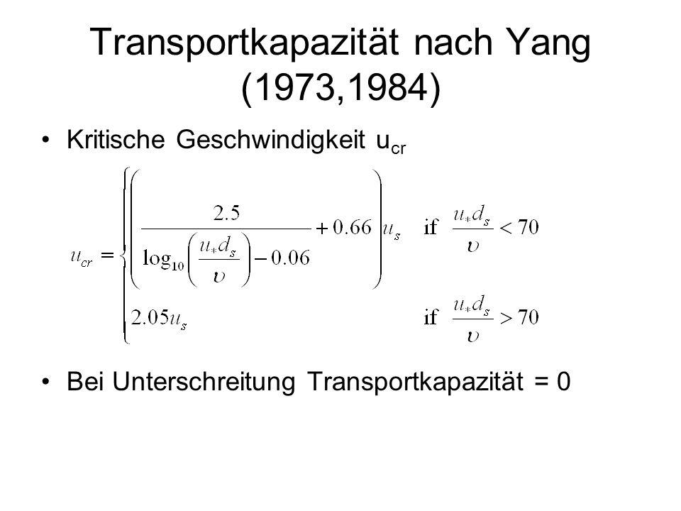 Transportkapazität nach Yang (1973,1984)