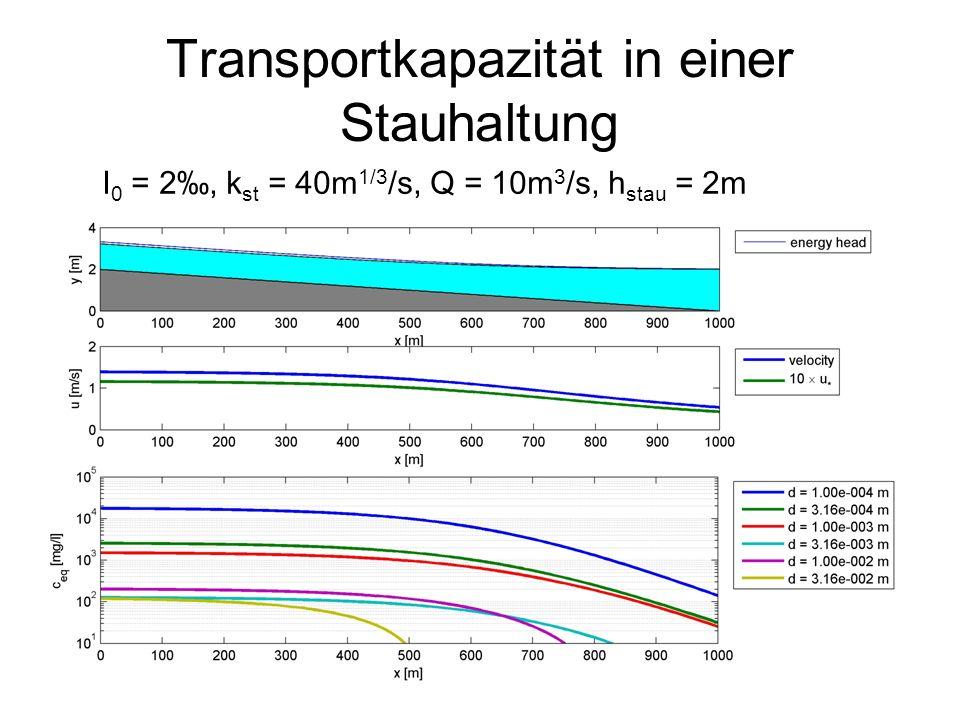 Transportkapazität in einer Stauhaltung