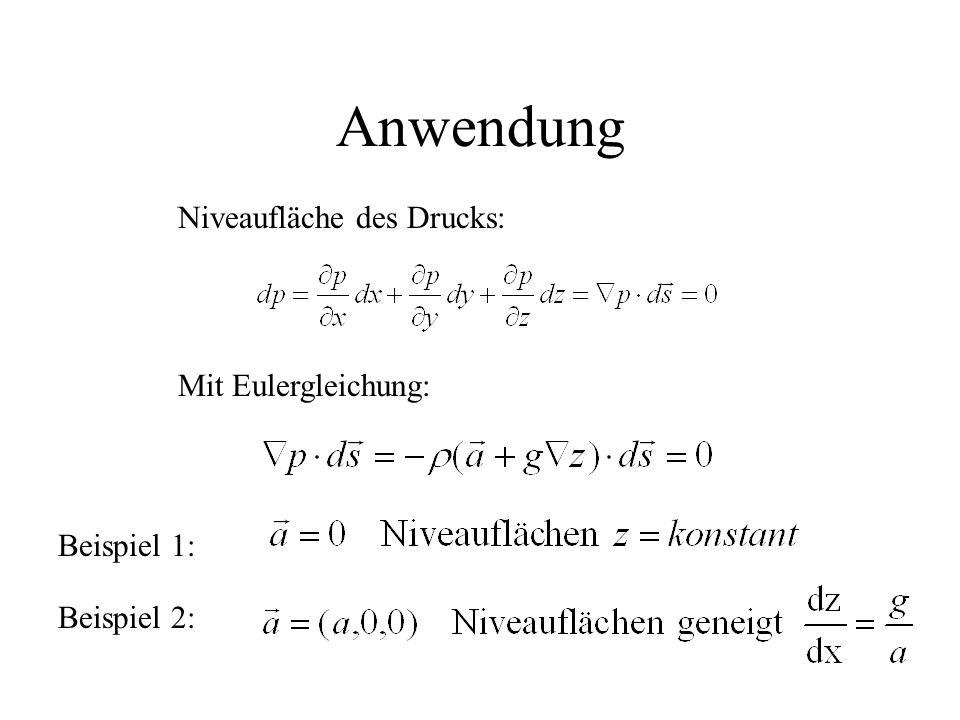 Anwendung Niveaufläche des Drucks: Mit Eulergleichung: Beispiel 1: