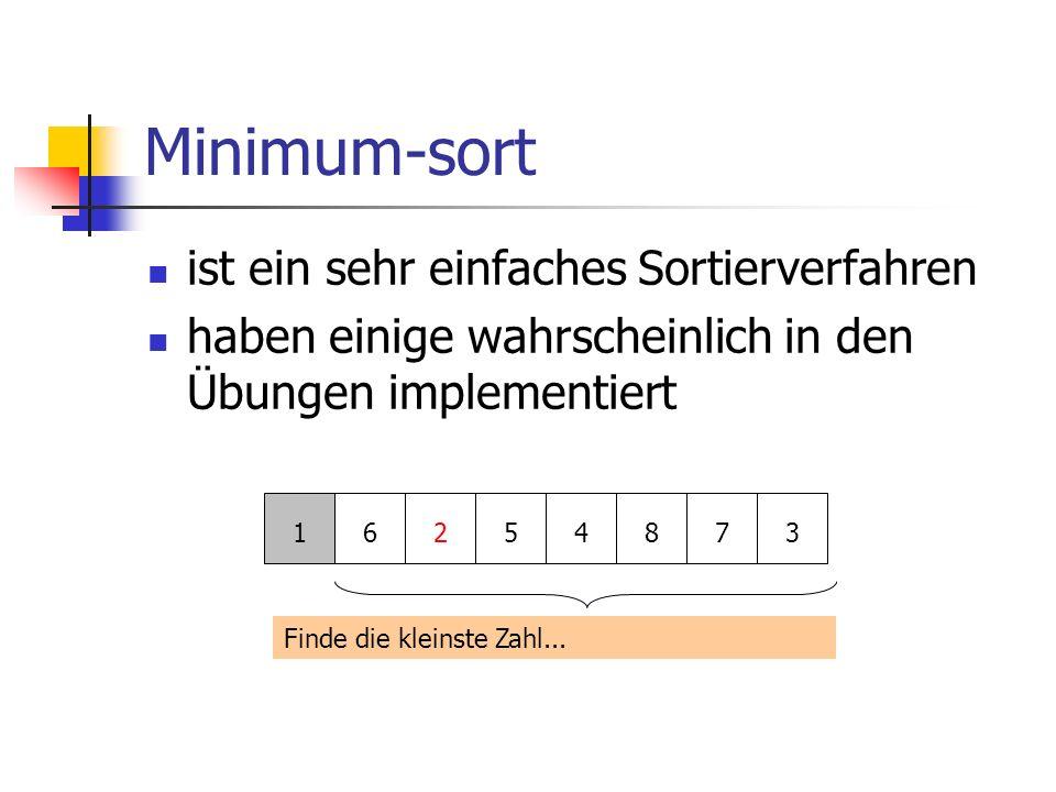 Minimum-sort ist ein sehr einfaches Sortierverfahren