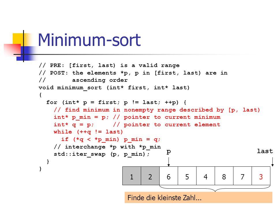 Minimum-sort p last 1 2 6 5 4 8 7 3 Finde die kleinste Zahl...