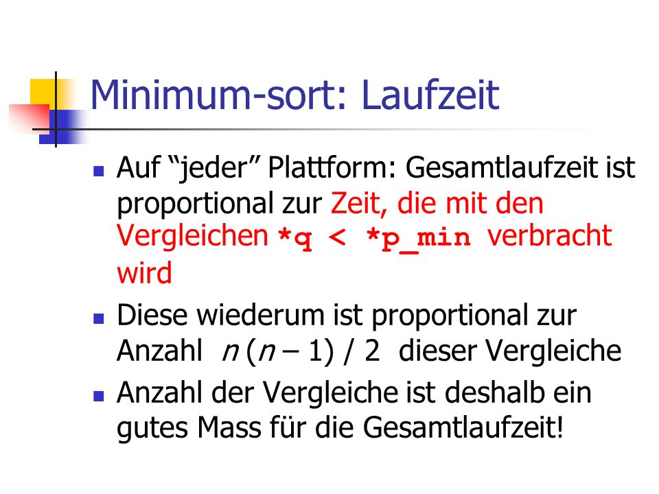 Minimum-sort: Laufzeit