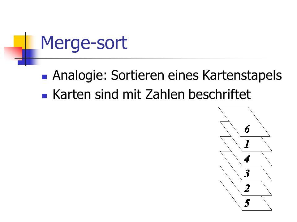 Merge-sort Analogie: Sortieren eines Kartenstapels
