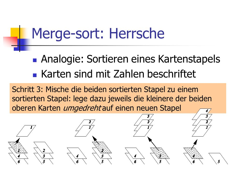 Merge-sort: Herrsche Analogie: Sortieren eines Kartenstapels