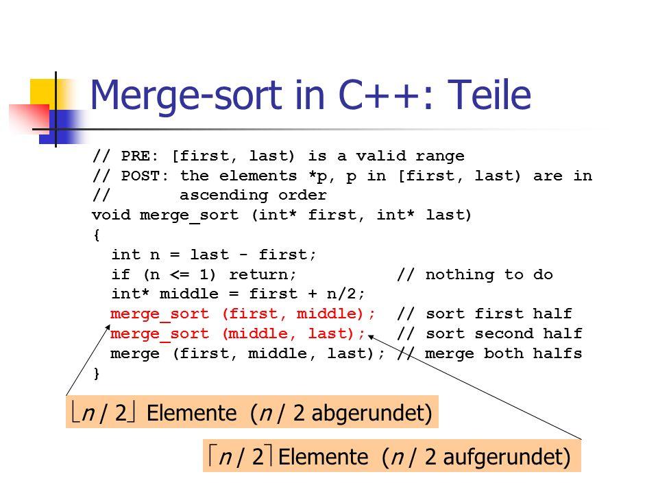 Merge-sort in C++: Teile