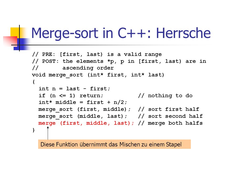 Merge-sort in C++: Herrsche