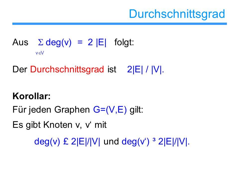 Durchschnittsgrad Aus S deg(v) = 2 |E| folgt: