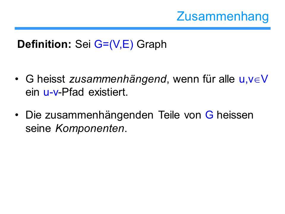 Zusammenhang Definition: Sei G=(V,E) Graph