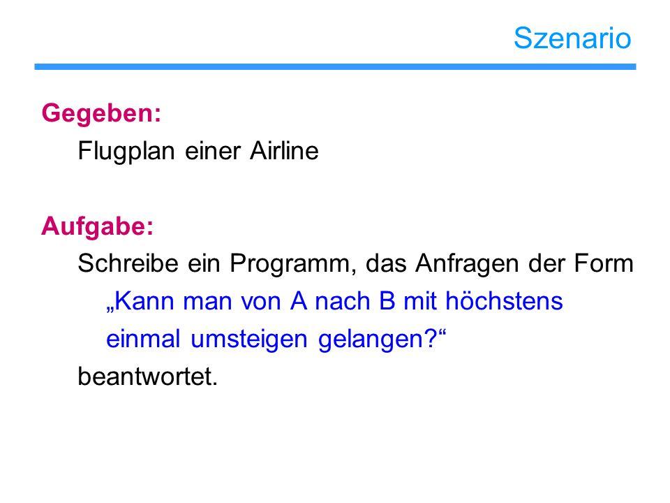Szenario Gegeben: Flugplan einer Airline Aufgabe: