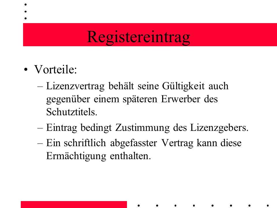 Registereintrag Vorteile: