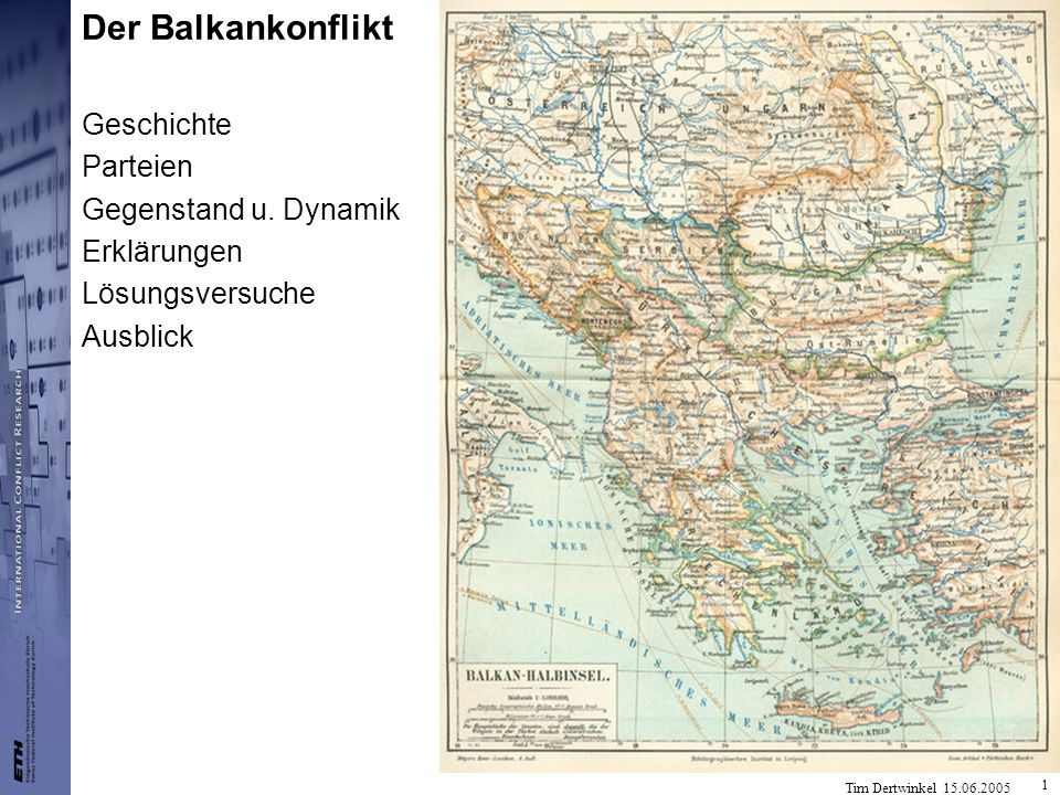 Der Balkankonflikt Geschichte Parteien Gegenstand u. Dynamik
