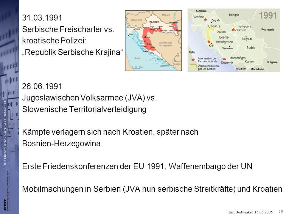 """31.03.1991 Serbische Freischärler vs. kroatische Polizei: """"Republik Serbische Krajina 26.06.1991."""
