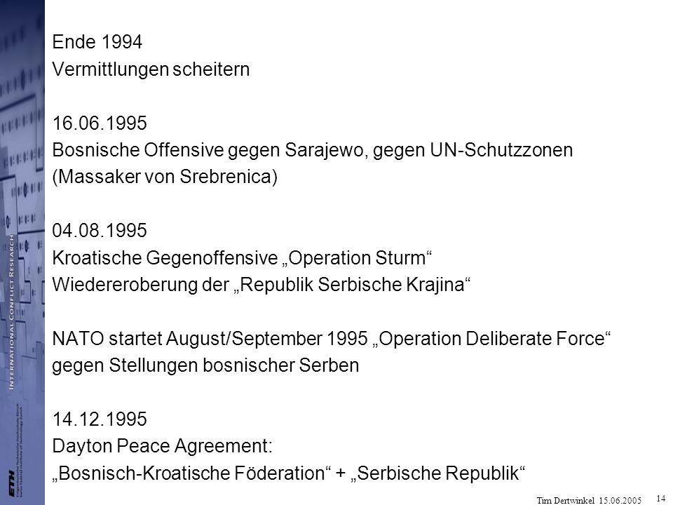 Ende 1994 Vermittlungen scheitern. 16.06.1995. Bosnische Offensive gegen Sarajewo, gegen UN-Schutzzonen.