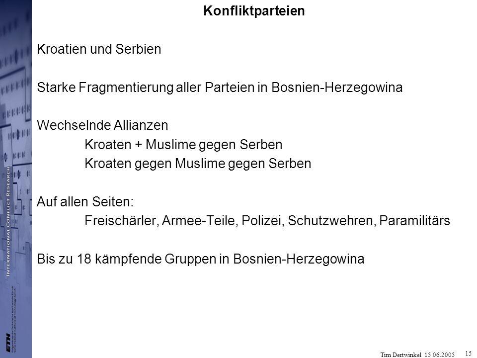 Konfliktparteien Kroatien und Serbien. Starke Fragmentierung aller Parteien in Bosnien-Herzegowina.