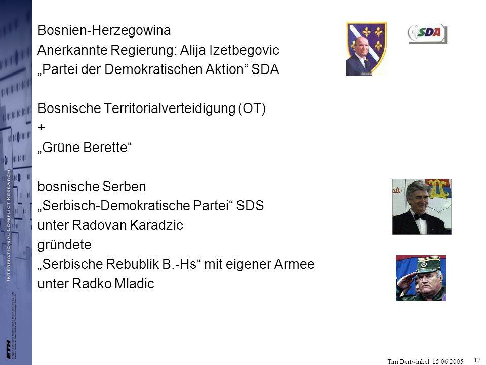 """Bosnien-Herzegowina Anerkannte Regierung: Alija Izetbegovic. """"Partei der Demokratischen Aktion SDA."""