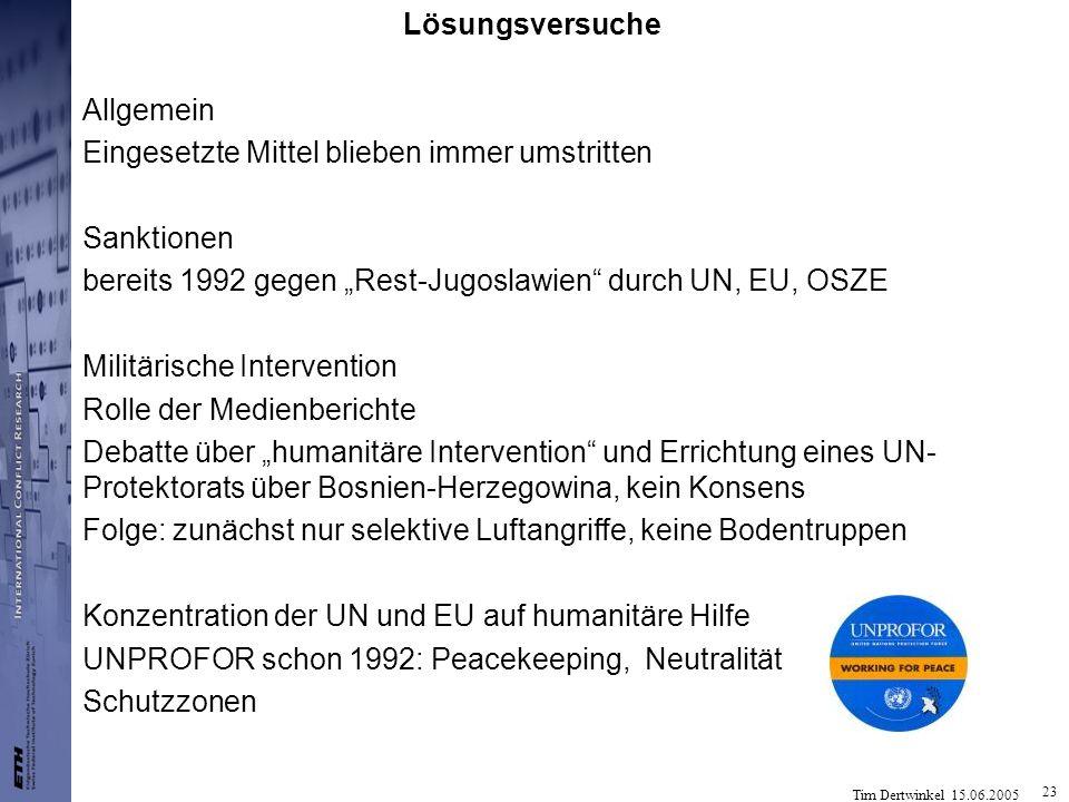"""Lösungsversuche Allgemein. Eingesetzte Mittel blieben immer umstritten. Sanktionen. bereits 1992 gegen """"Rest-Jugoslawien durch UN, EU, OSZE."""