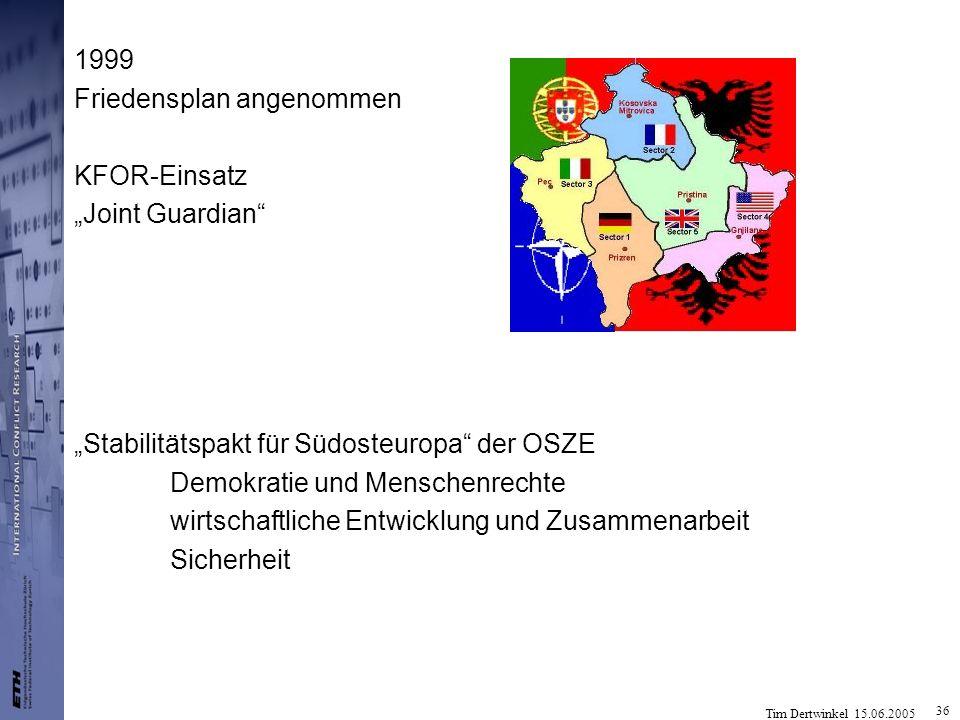 """1999 Friedensplan angenommen. KFOR-Einsatz. """"Joint Guardian """"Stabilitätspakt für Südosteuropa der OSZE."""