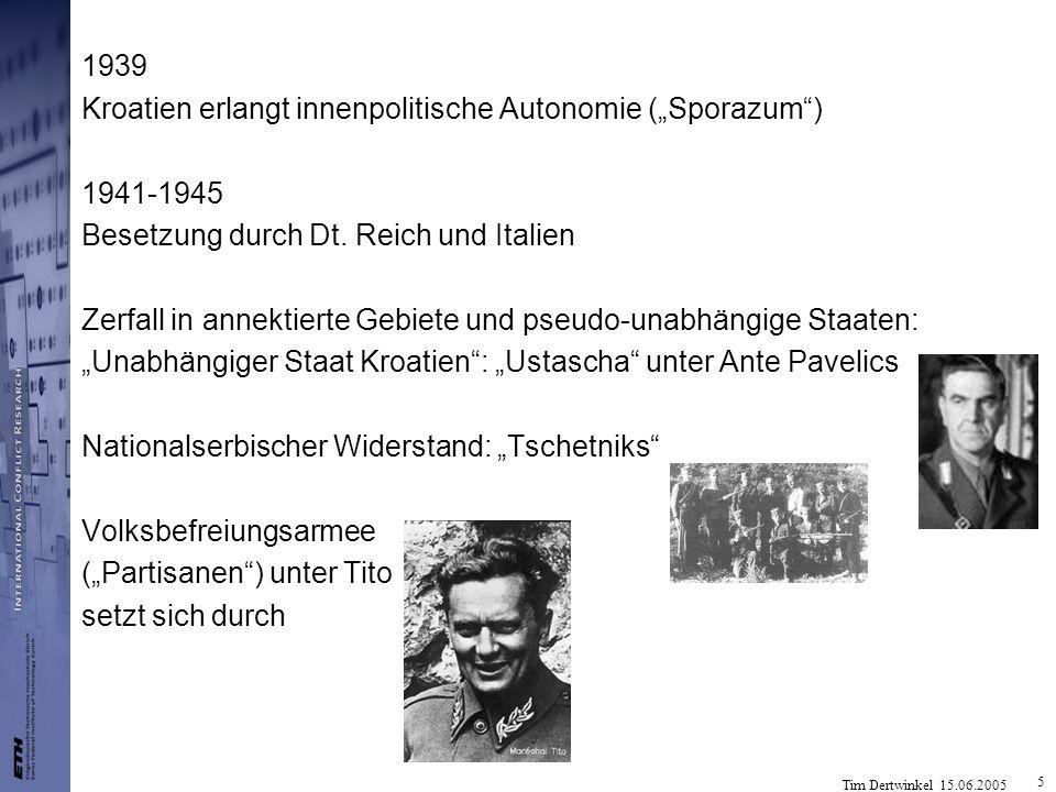 """1939 Kroatien erlangt innenpolitische Autonomie (""""Sporazum ) 1941-1945. Besetzung durch Dt. Reich und Italien."""