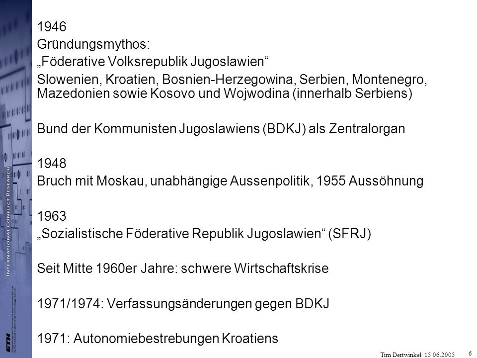 "1946 Gründungsmythos: ""Föderative Volksrepublik Jugoslawien"