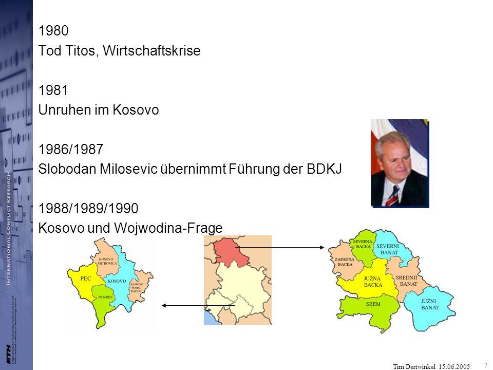1980 Tod Titos, Wirtschaftskrise. 1981. Unruhen im Kosovo. 1986/1987. Slobodan Milosevic übernimmt Führung der BDKJ.