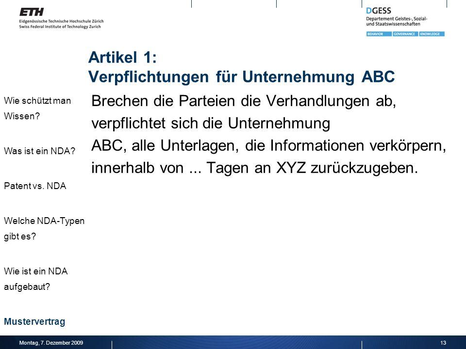 Artikel 1: Verpflichtungen für Unternehmung ABC