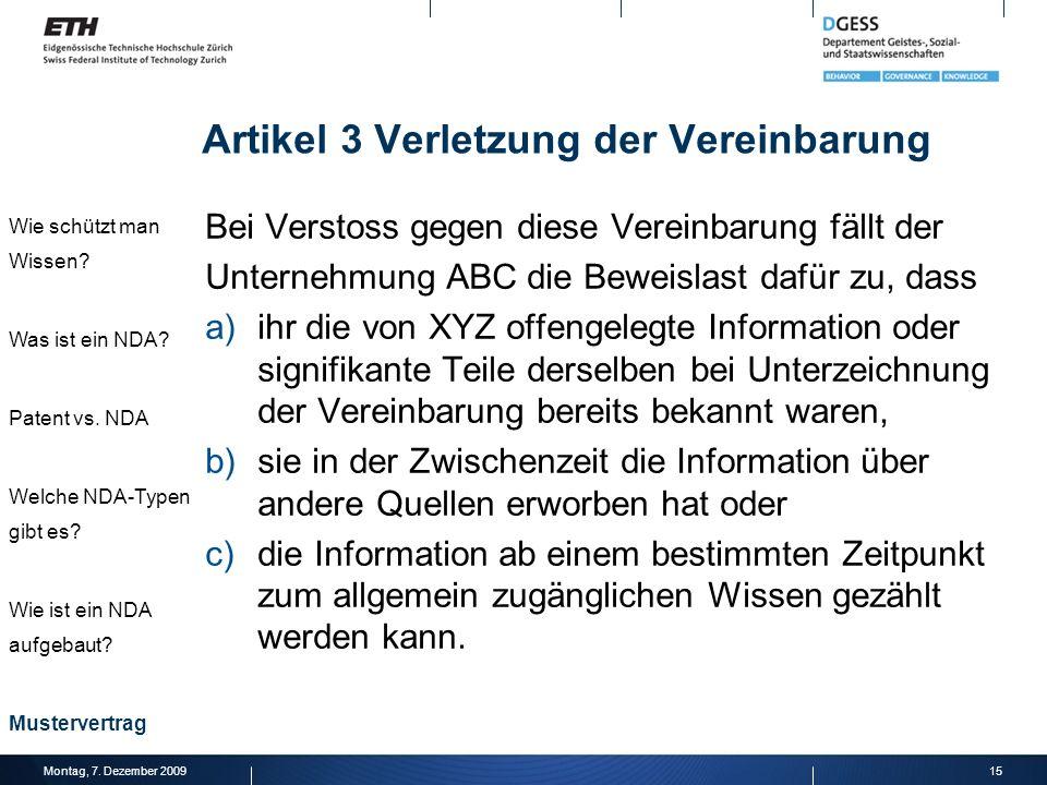 Artikel 3 Verletzung der Vereinbarung