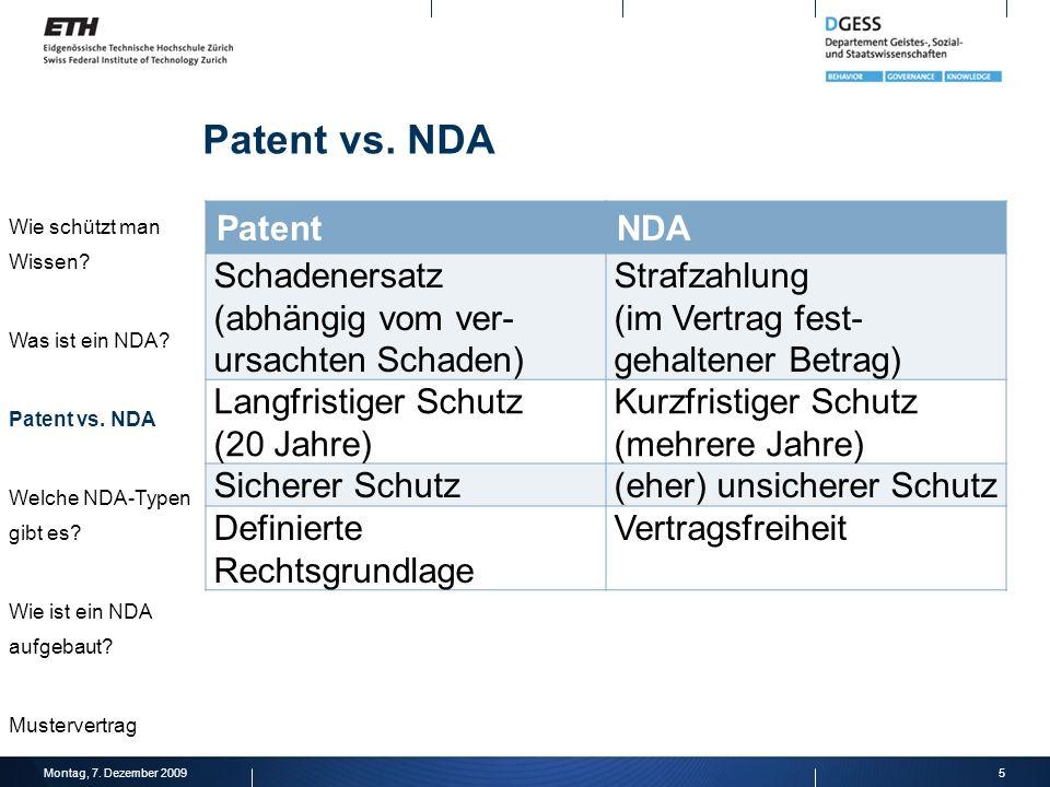 Patent vs. NDA Patent NDA Schadenersatz