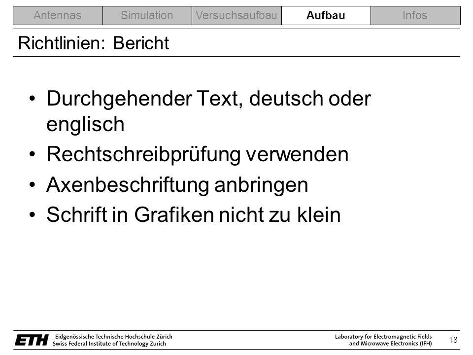 Durchgehender Text, deutsch oder englisch