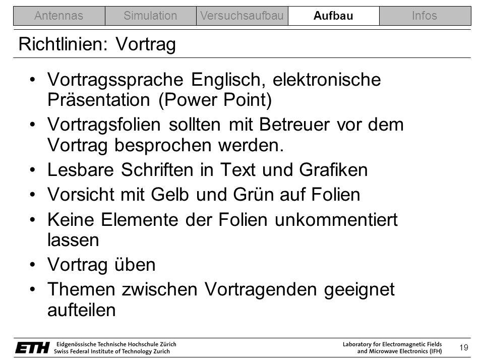 Vortragssprache Englisch, elektronische Präsentation (Power Point)