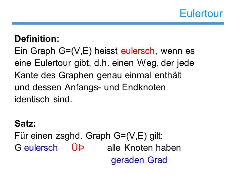 Eulertour Definition: Ein Graph G=(V,E) heisst eulersch, wenn es