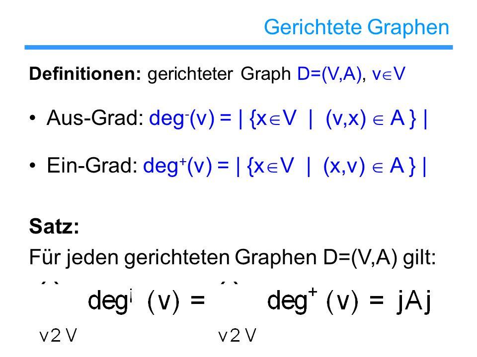 Aus-Grad: deg-(v) = | {xV | (v,x)  A } |