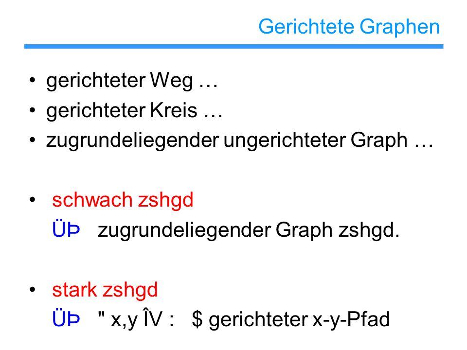 Gerichtete Graphen gerichteter Weg … gerichteter Kreis … zugrundeliegender ungerichteter Graph … schwach zshgd.