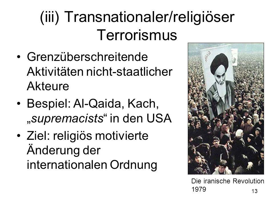 (iii) Transnationaler/religiöser Terrorismus