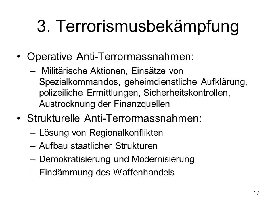 3. Terrorismusbekämpfung