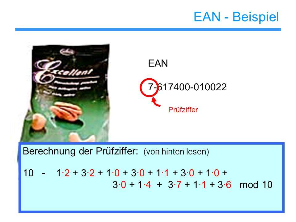 EAN - Beispiel EAN. 7-617400-010022. Prüfziffer. Berechnung der Prüfziffer: (von hinten lesen)