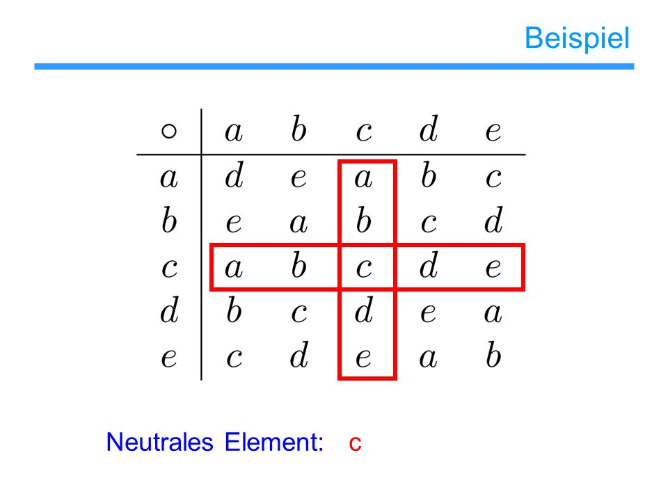 Beispiel Neutrales Element: c