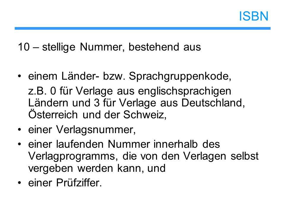 ISBN 10 – stellige Nummer, bestehend aus
