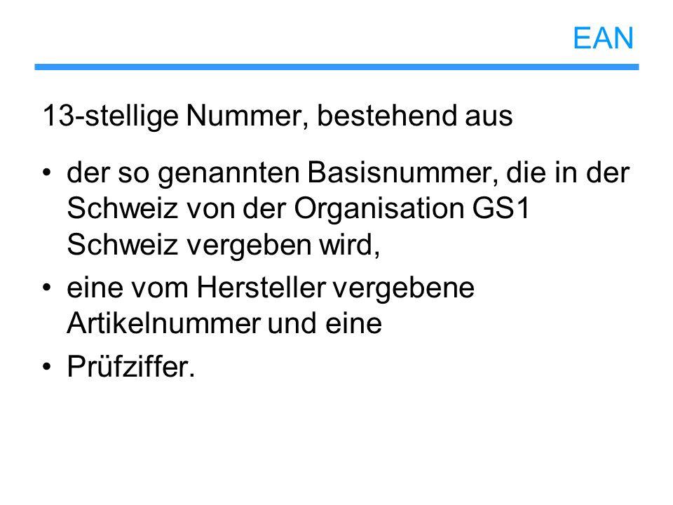 EAN 13-stellige Nummer, bestehend aus. der so genannten Basisnummer, die in der Schweiz von der Organisation GS1 Schweiz vergeben wird,
