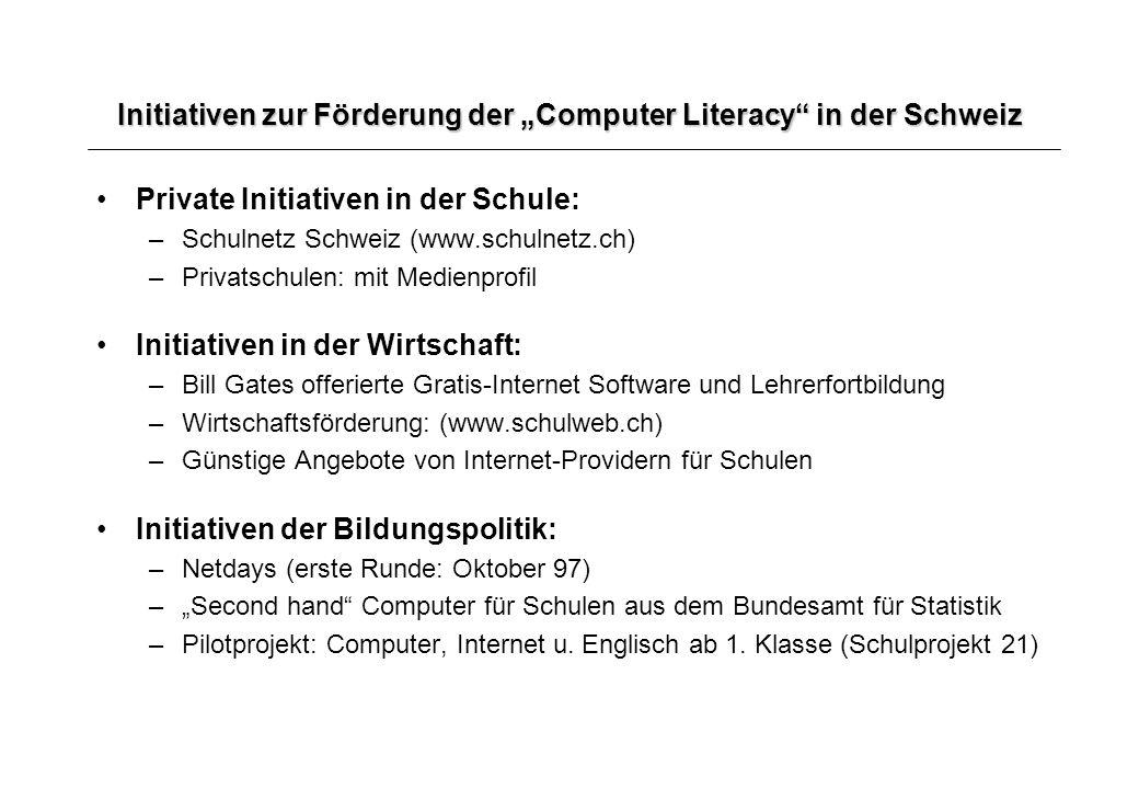 """Initiativen zur Förderung der """"Computer Literacy in der Schweiz"""