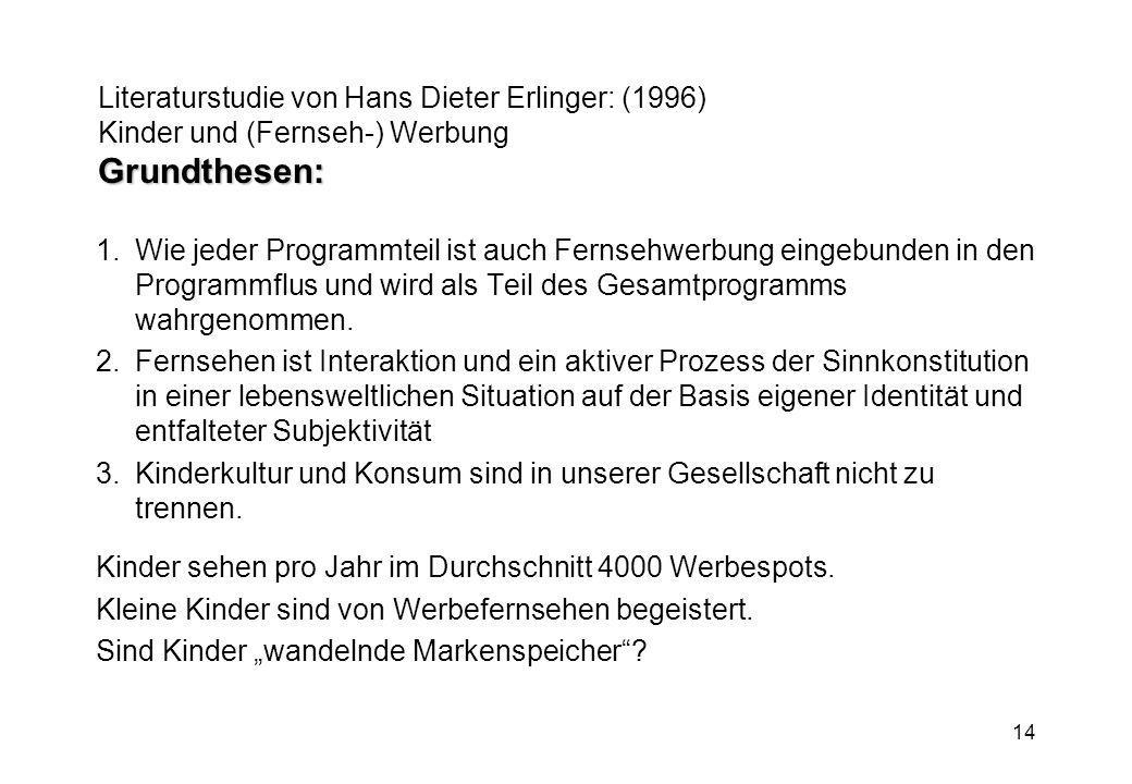 Literaturstudie von Hans Dieter Erlinger: (1996) Kinder und (Fernseh-) Werbung Grundthesen:
