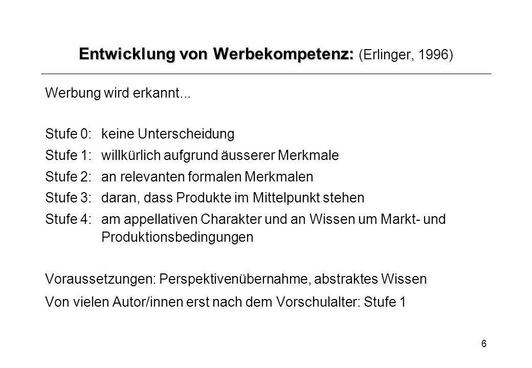 Entwicklung von Werbekompetenz: (Erlinger, 1996)