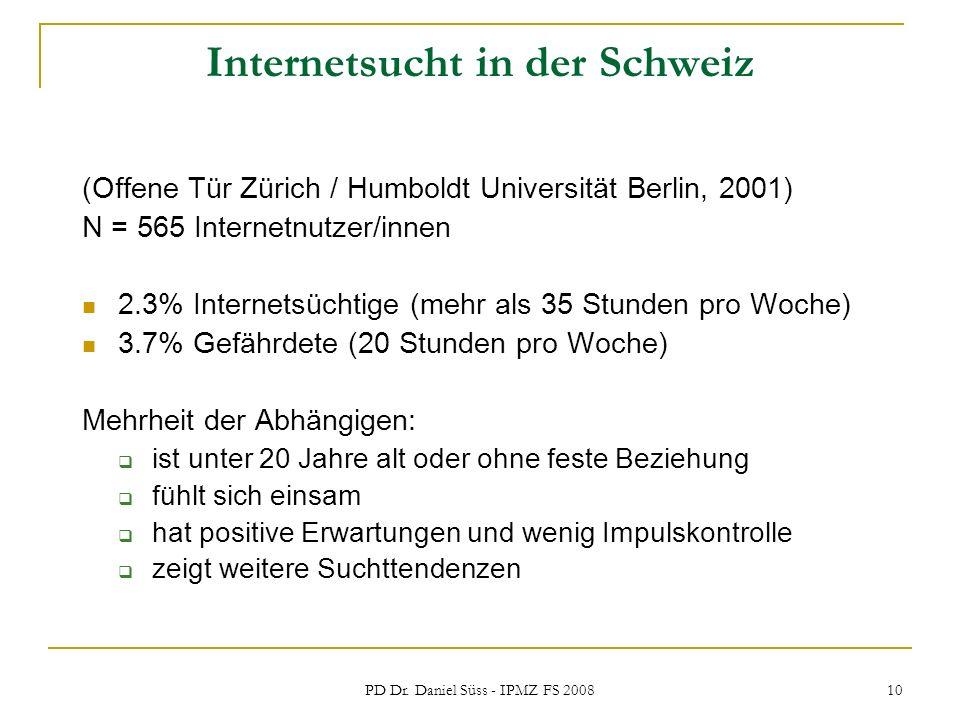 Internetsucht in der Schweiz