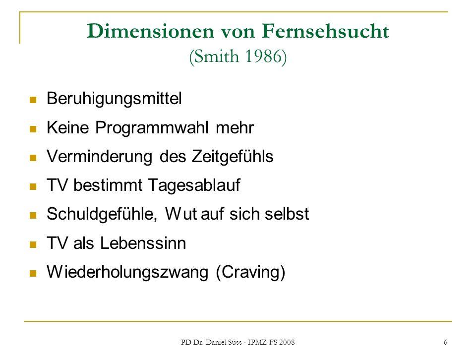 Dimensionen von Fernsehsucht (Smith 1986)