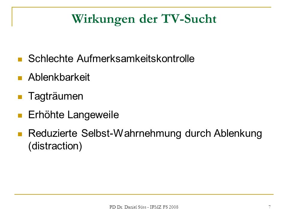 Wirkungen der TV-Sucht