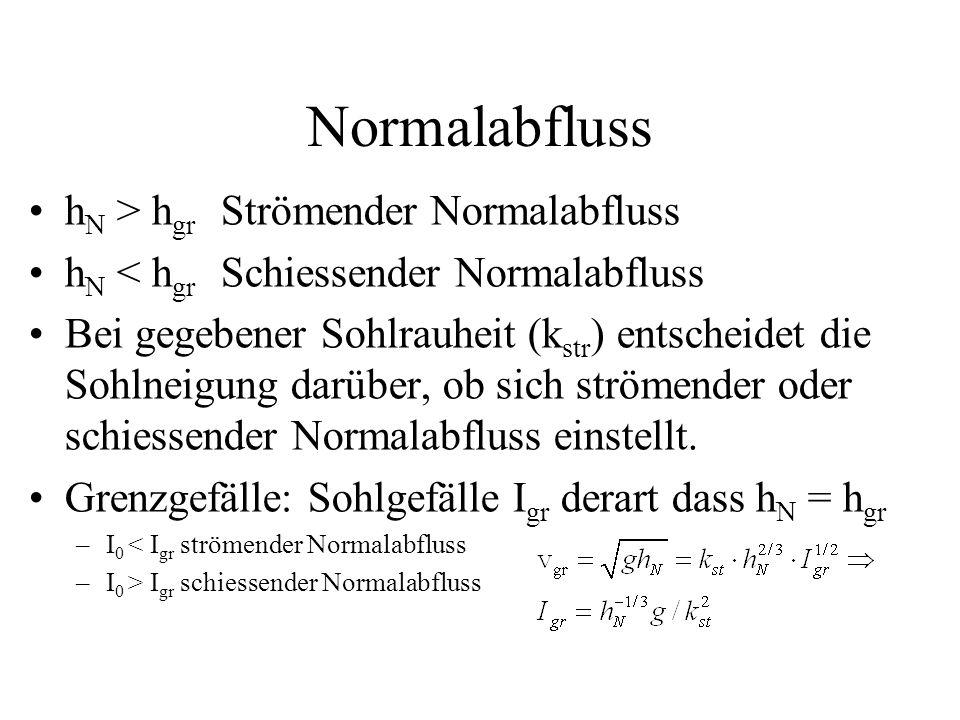 Normalabfluss hN > hgr Strömender Normalabfluss