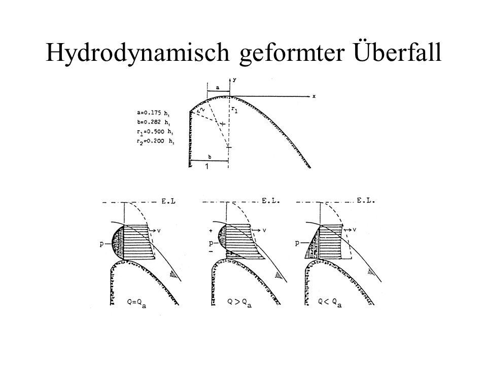 Hydrodynamisch geformter Überfall