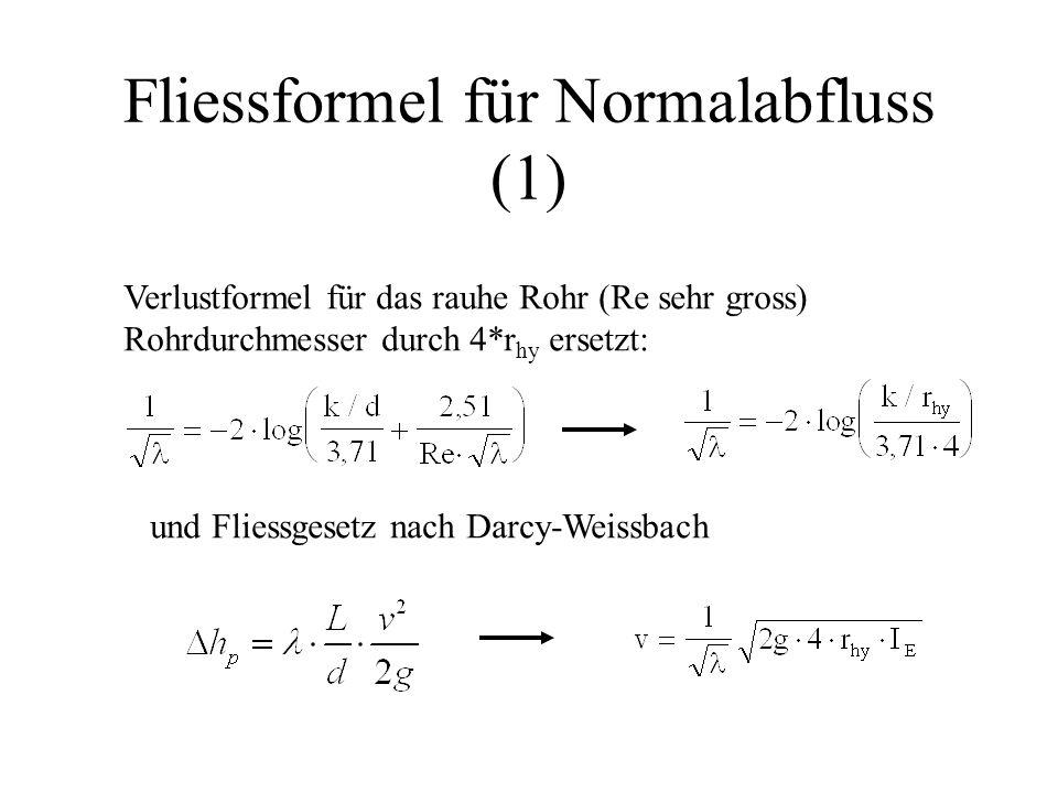 Fliessformel für Normalabfluss (1)