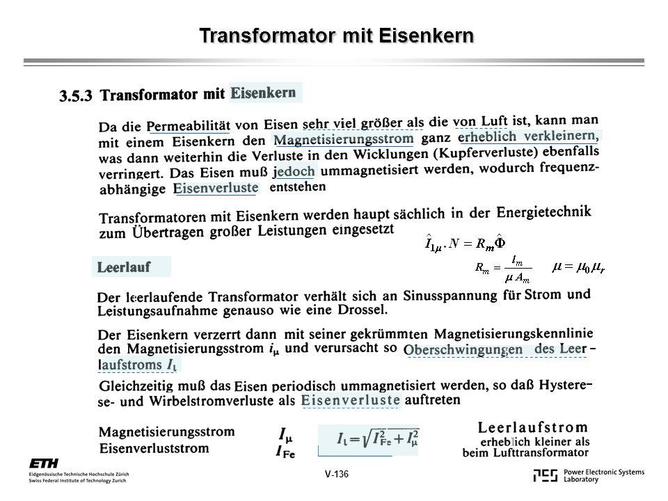 Transformator mit Eisenkern