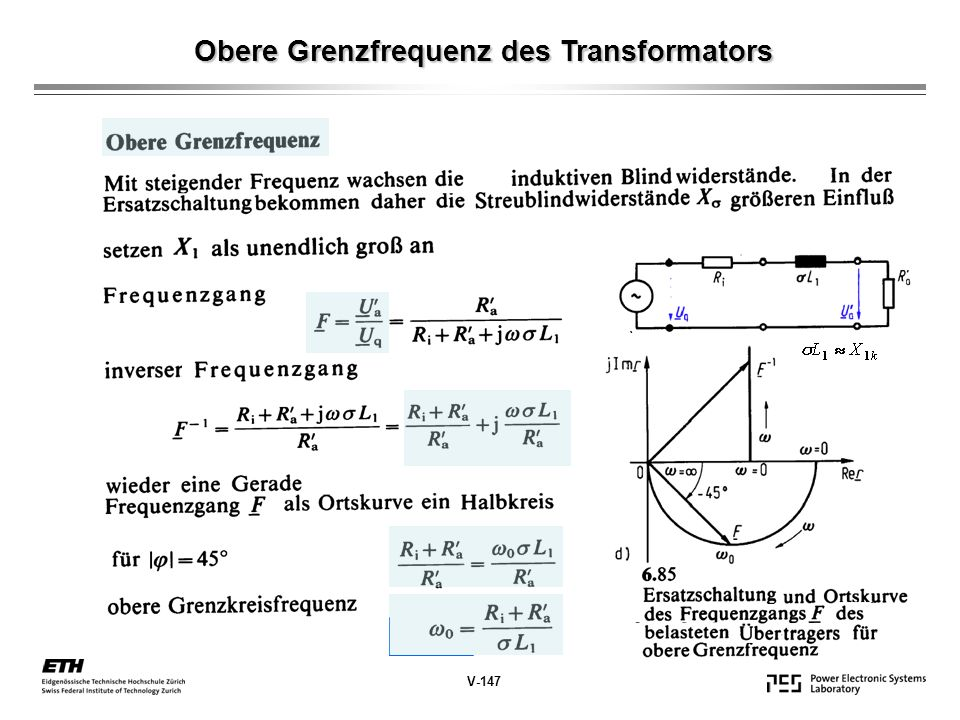 Obere Grenzfrequenz des Transformators