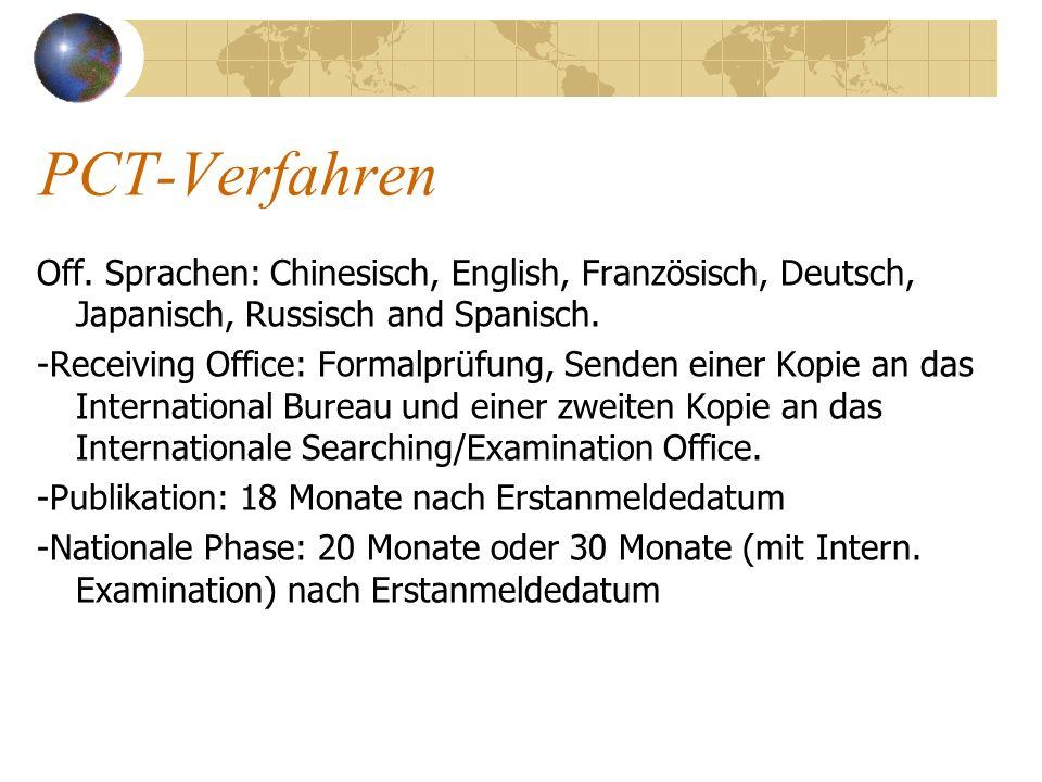 PCT-VerfahrenOff. Sprachen: Chinesisch, English, Französisch, Deutsch, Japanisch, Russisch and Spanisch.